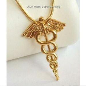 Jewelry - Gold Caduceus Necklace RN LPN MD Doctor Nursing
